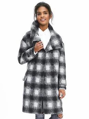 Plaid Double-Breasted Coat - Black/gray