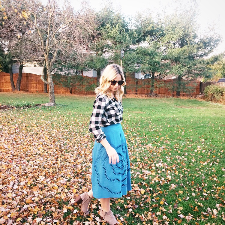 plaid and blue midi