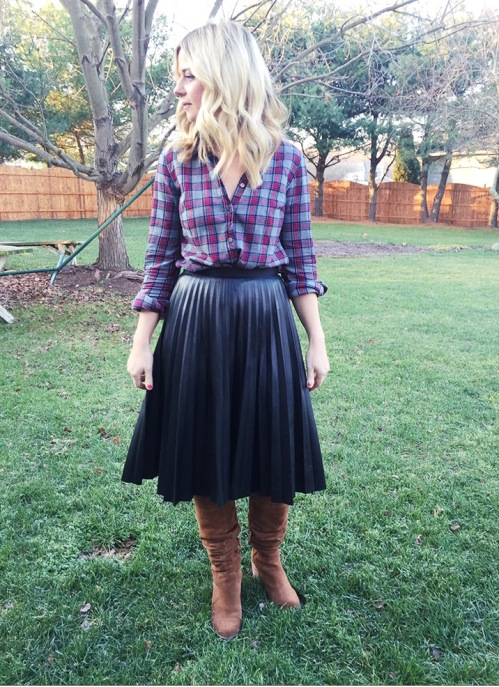 jcrew plaid shirt and topshop leather midi
